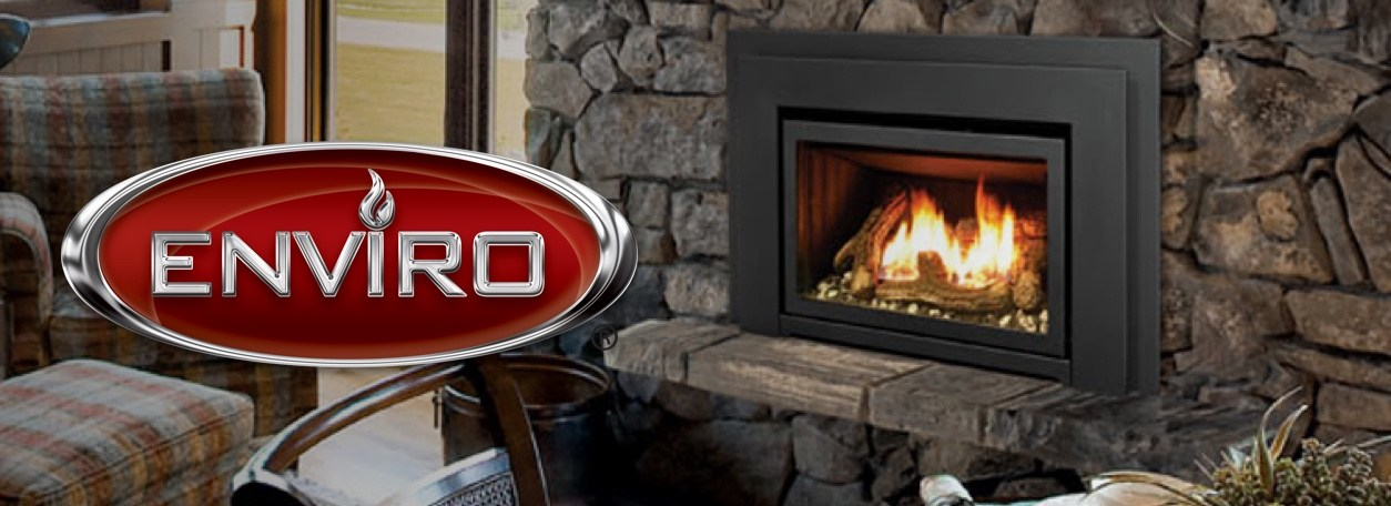 Enviro logo with stone fireplace in home