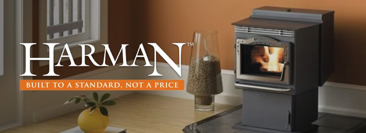 Harman Built to a Standard, Not a Price logo with Harman heating stove and wood pellets