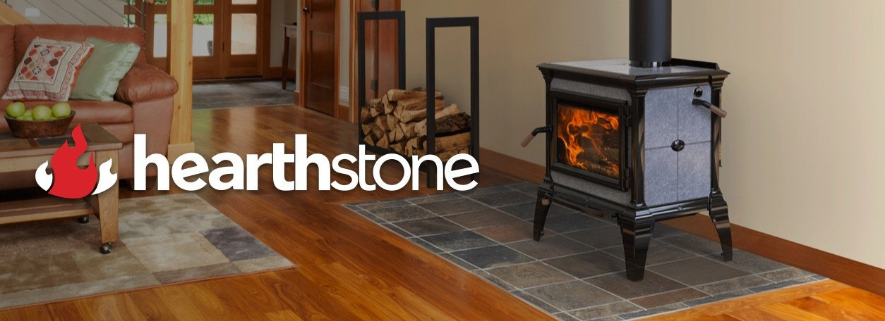 Hearthstone logo with Hearthstone fireplace and wood logs