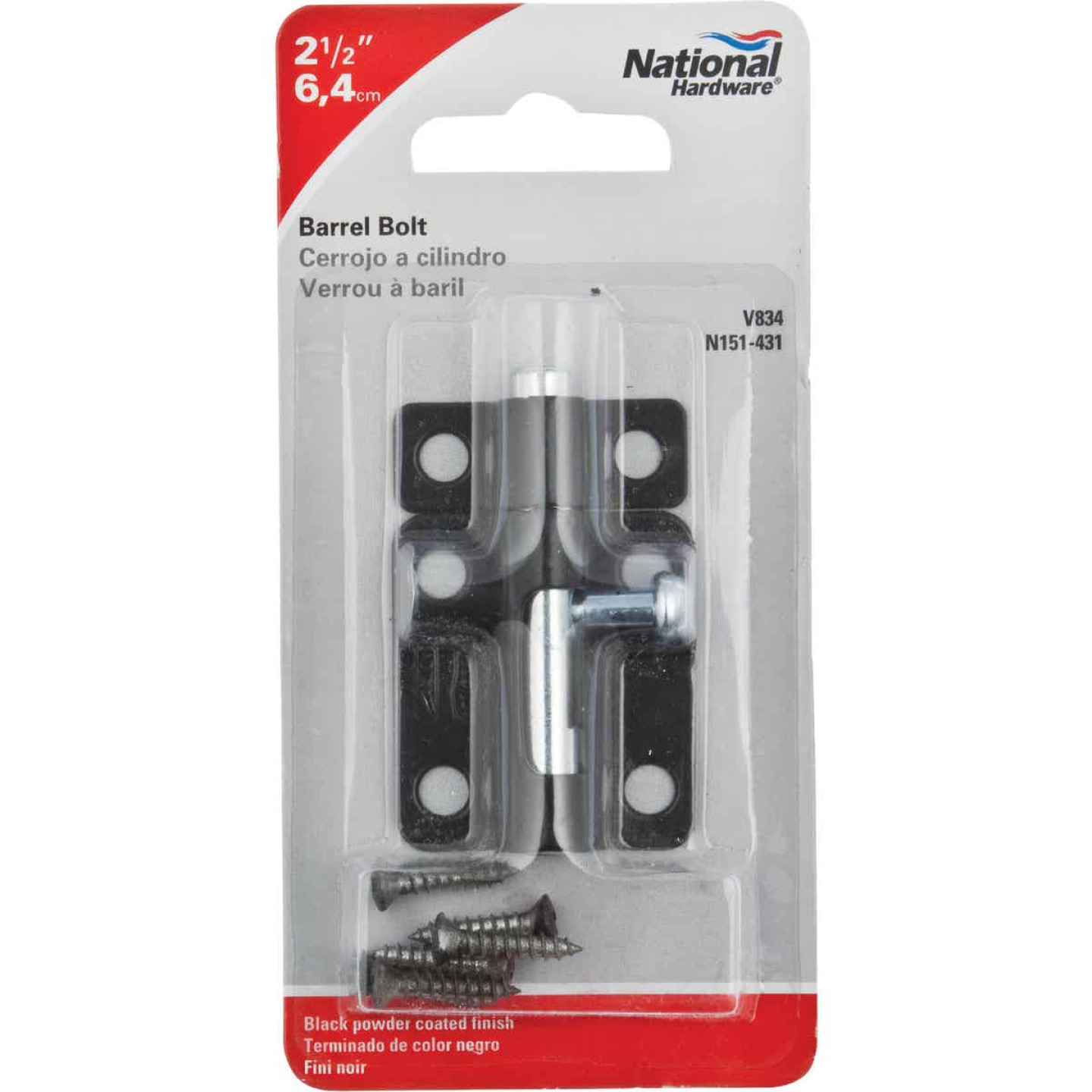 National 2-1/2 In. Black Steel Door Barrel Bolt Image 2