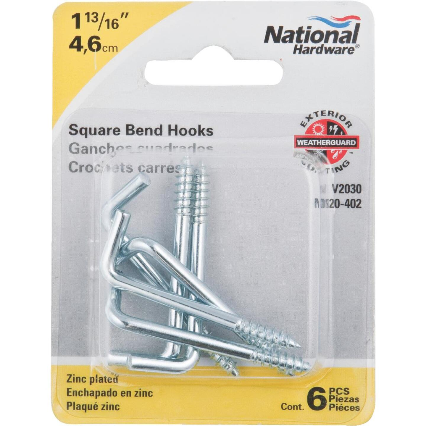 National 2030 Series #110 Square Bend Screw Hook Shoulder Hook (6 Count) Image 2