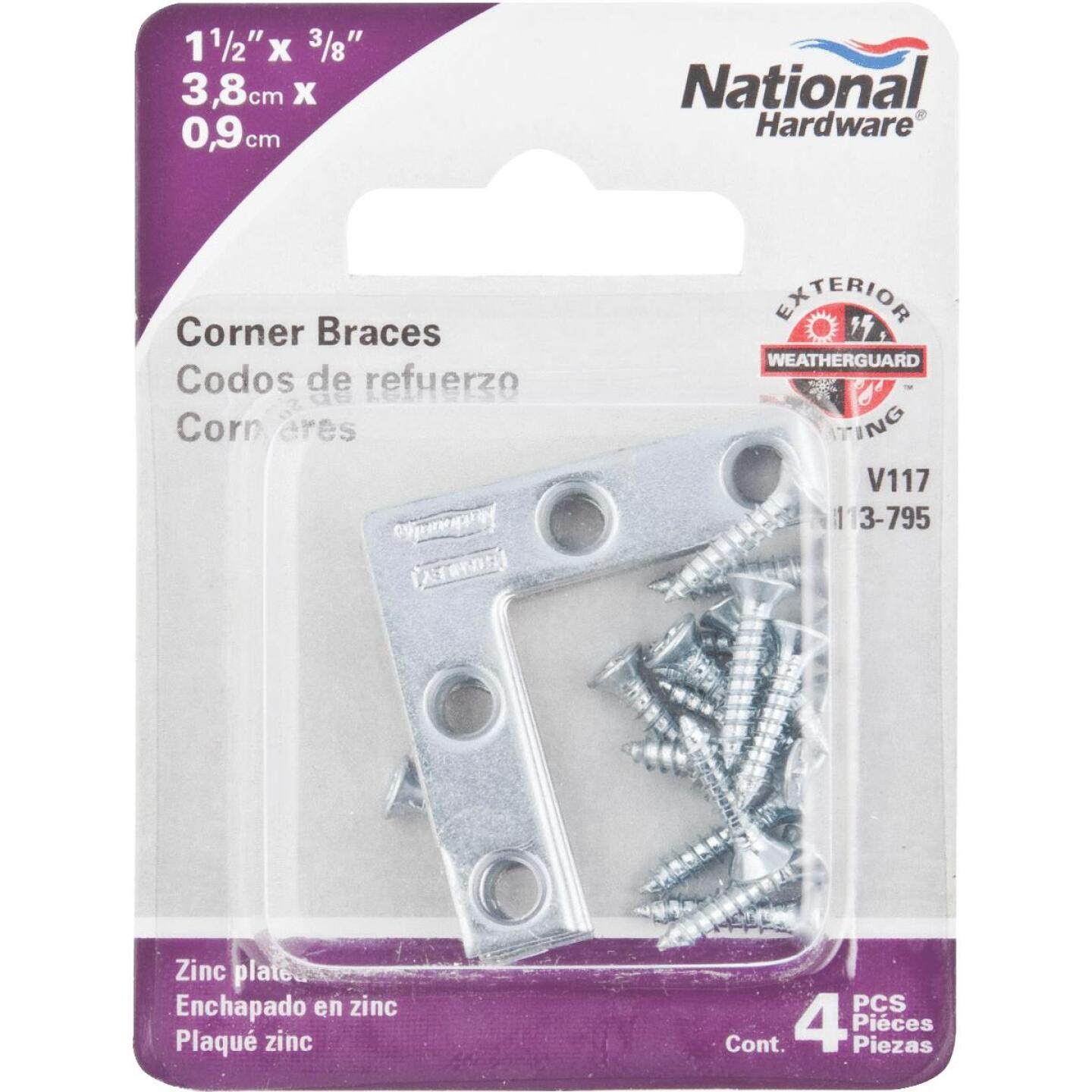 National Catalog 117 1-1/2 In. x 3/8 In. Zinc Flat Corner Iron (4-Count) Image 2