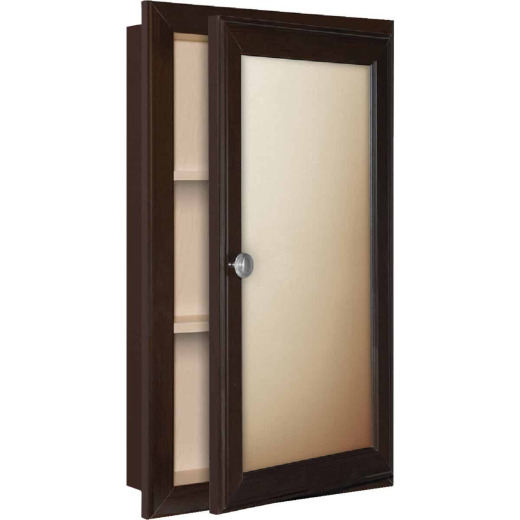 Continental Cabinets Java 15.75 In. W x 25.75 In. H x 4.75 In. D Single Mirror Surface/Recess Mount Framed Medicine Cabinet