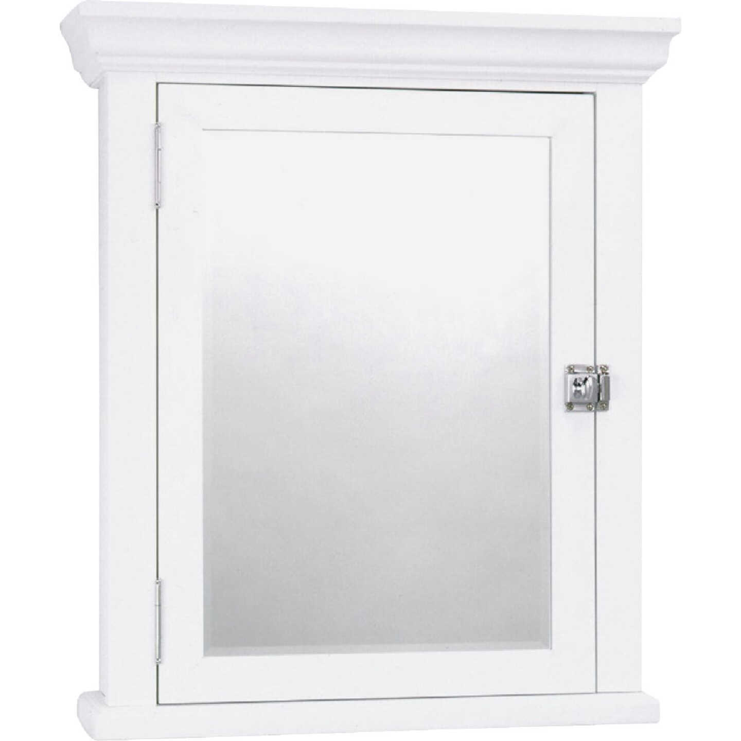 Zenith American White 22.25 In. W x 27.25 In. H x 5.75 In. D Single Mirror Surface Mount Crown Pediment Medicine Cabinet Image 1