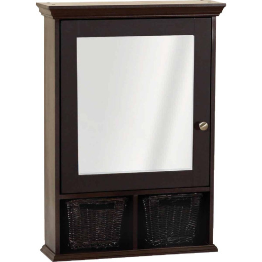 Zenith Espresso 21 In. W x 29 In. H x 6-1/2 In. D Single Mirror Surface Mount Medicine Cabinet with Baskets