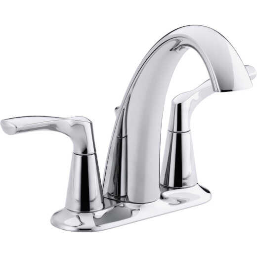 Kohler Mistos Chrome 2-Handle Lever 4 In. Centerset Bathroom Faucet with Pop-Up