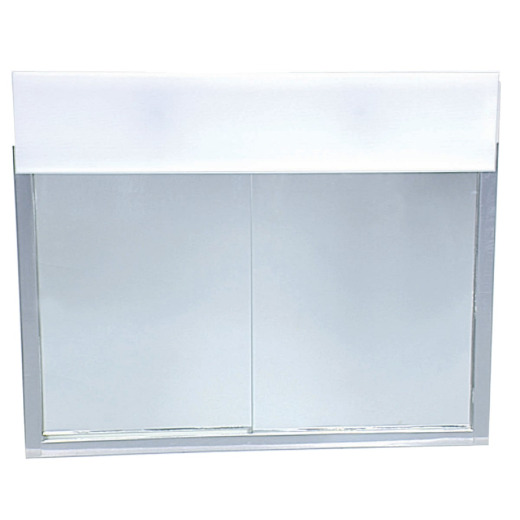 Zenith Stainless Steel 23.5 In. W x 18.5 In. H x 5.5 In. D Bi-View Surface Mount Lighted Medicine Cabinet