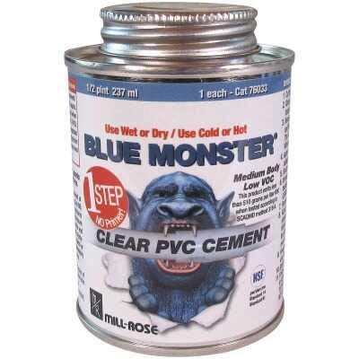 BLUE MONSTER 4 Oz. Weatherproof 1-Step Clear PVC Cement