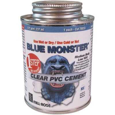 BLUE MONSTER 8 Oz. Weatherproof 1-Step Clear PVC Cement