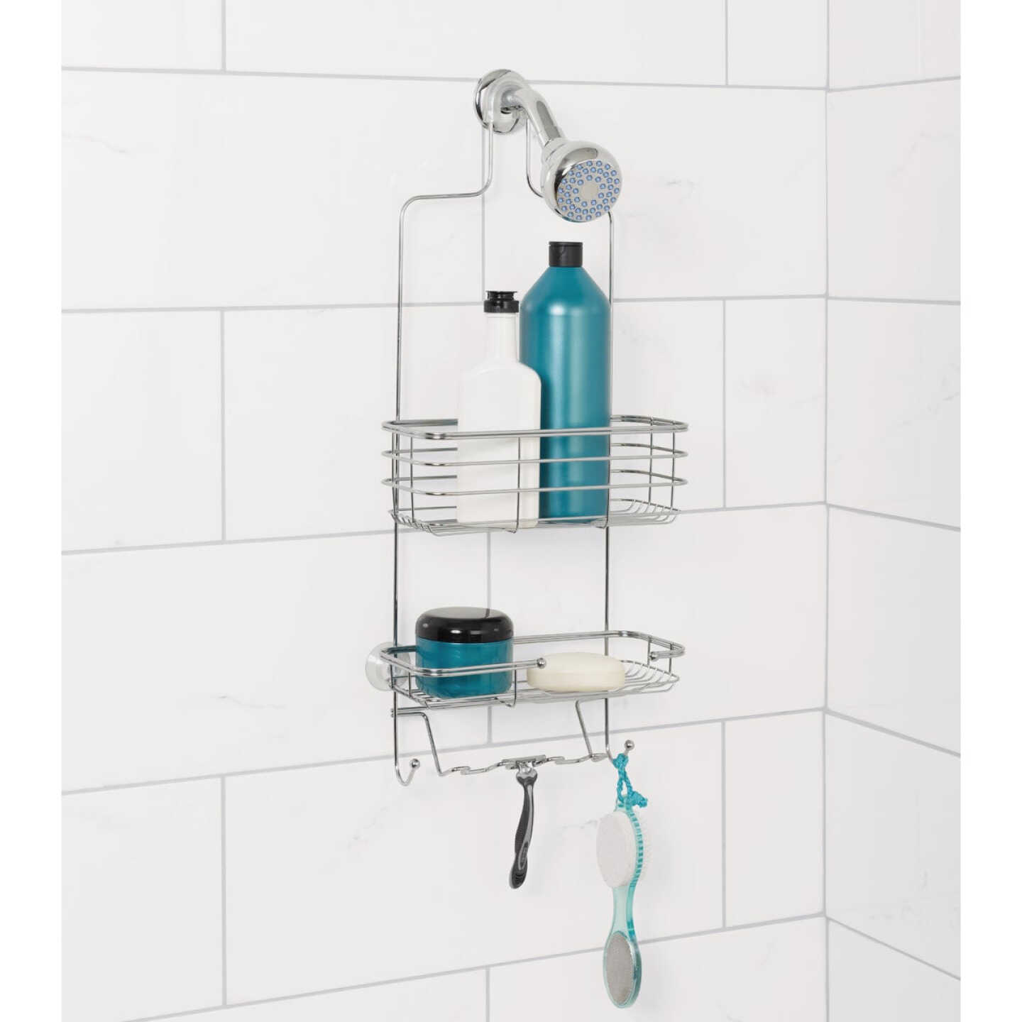 Zenna Home 10.38 In. x 24.75 In. x 4.75 In. Large Satin Nickel Shower Caddy Image 1