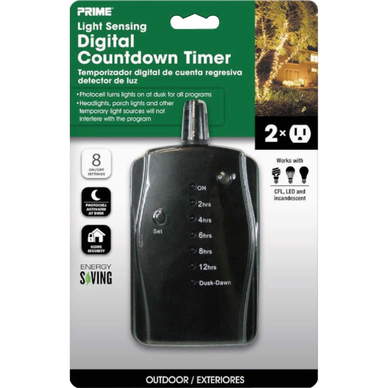 Prime 15A 125V 1875W Black LED Outdoor Countdown Timer Image 2