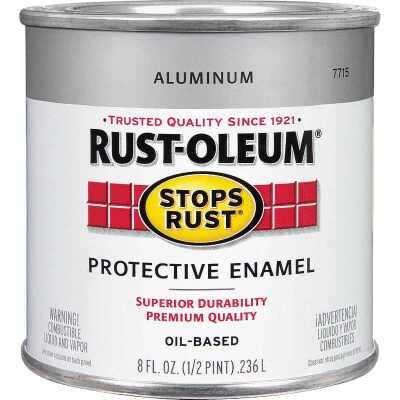Rust-Oleum Stops Rust Oil Based Gloss Protective Rust Control Enamel, Aluminum, 1/2 Pt.
