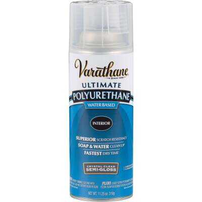 Varathane Semi-Gloss Clear Interior Water-Based Spray Polyurethane, 11.25 Oz.