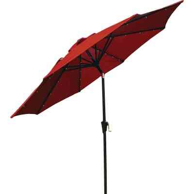 Outdoor Expressions 9 Ft. Aluminum Tilt/Crank Crimson Red Patio Umbrella with Solar LED Lights